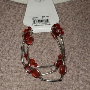 Bay Studio silver bracelet with red beads/ charms
